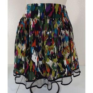 FOREVER 21 Watercolor Frilly Skater Skirt
